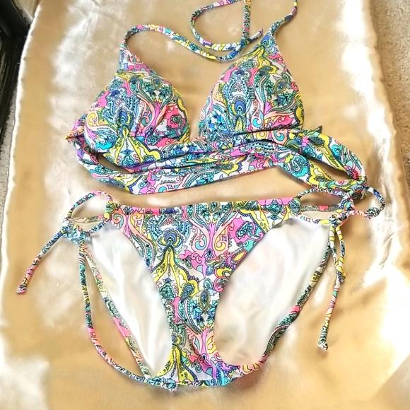 Victoria's Secret Paisley Halter Bikini size Small